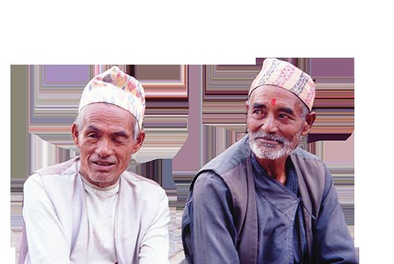 """Anziani con il tipico copricapo """"Topi"""", Pata, valle di Kathmandu"""