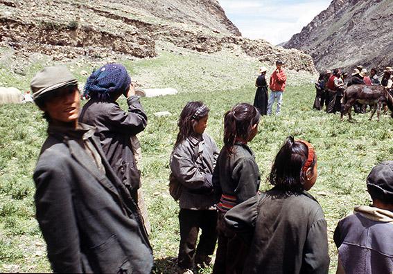 Un gruppo di nomadi impegnati nell'acquisto di un asino