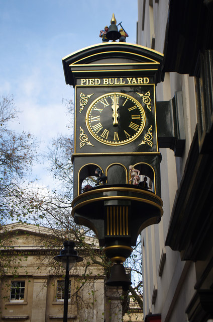 Pied Bull Yard Clock - © Copyright Julian Osley and licensed for reuse under this Creative Commons Licence.