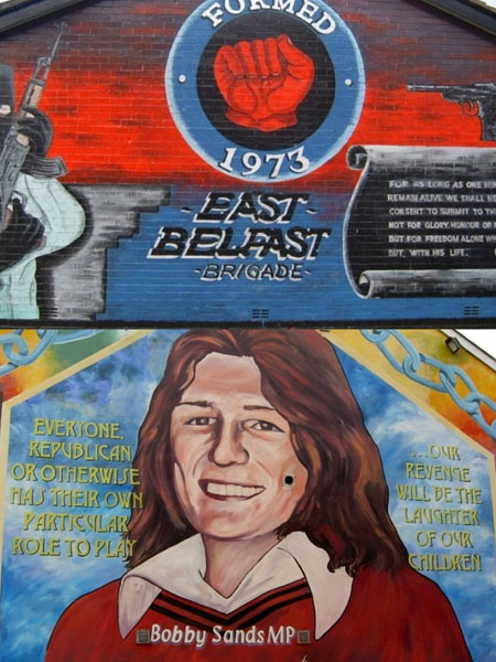 Ritratto di Bobby Sands su un muro a Belfast